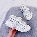 Жіночі босоніжки спортивні білі на платформі 5 см еко-шкіра+ текстиль, фото 6