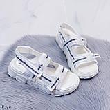 Жіночі босоніжки спортивні білі на платформі 5 см еко-шкіра+ текстиль, фото 7
