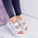 Жіночі босоніжки спортивні білі на платформі 5 см еко-шкіра+ текстиль, фото 9