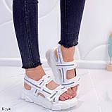 Жіночі босоніжки спортивні білі на платформі 5 см еко-шкіра+ текстиль, фото 10