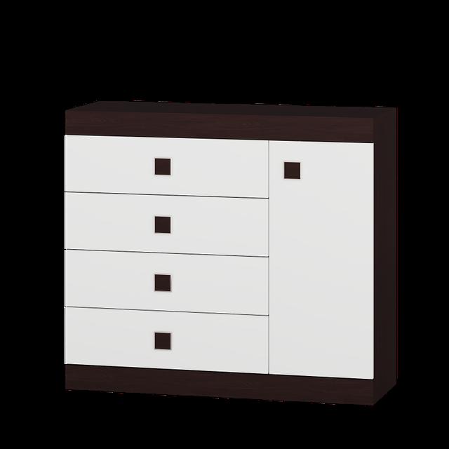 Комод Соната-5 Венге темний + Білий