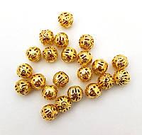 Бусина металлическая сетка, золото 10 мм