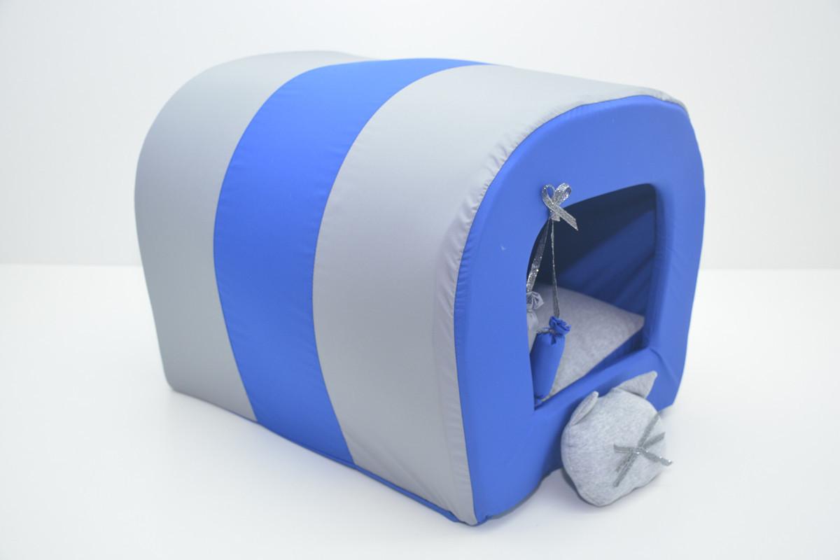 Домик туннель для собак и котов Комфорт лето синяя №131х36х31 см