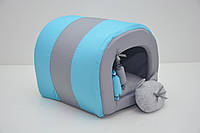 Домик туннель для собак и котов Комфорт лето бирюзовая №235х45х36 см