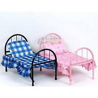 Игрушечная металлическая кровать для кукол и пупсов с подушкой