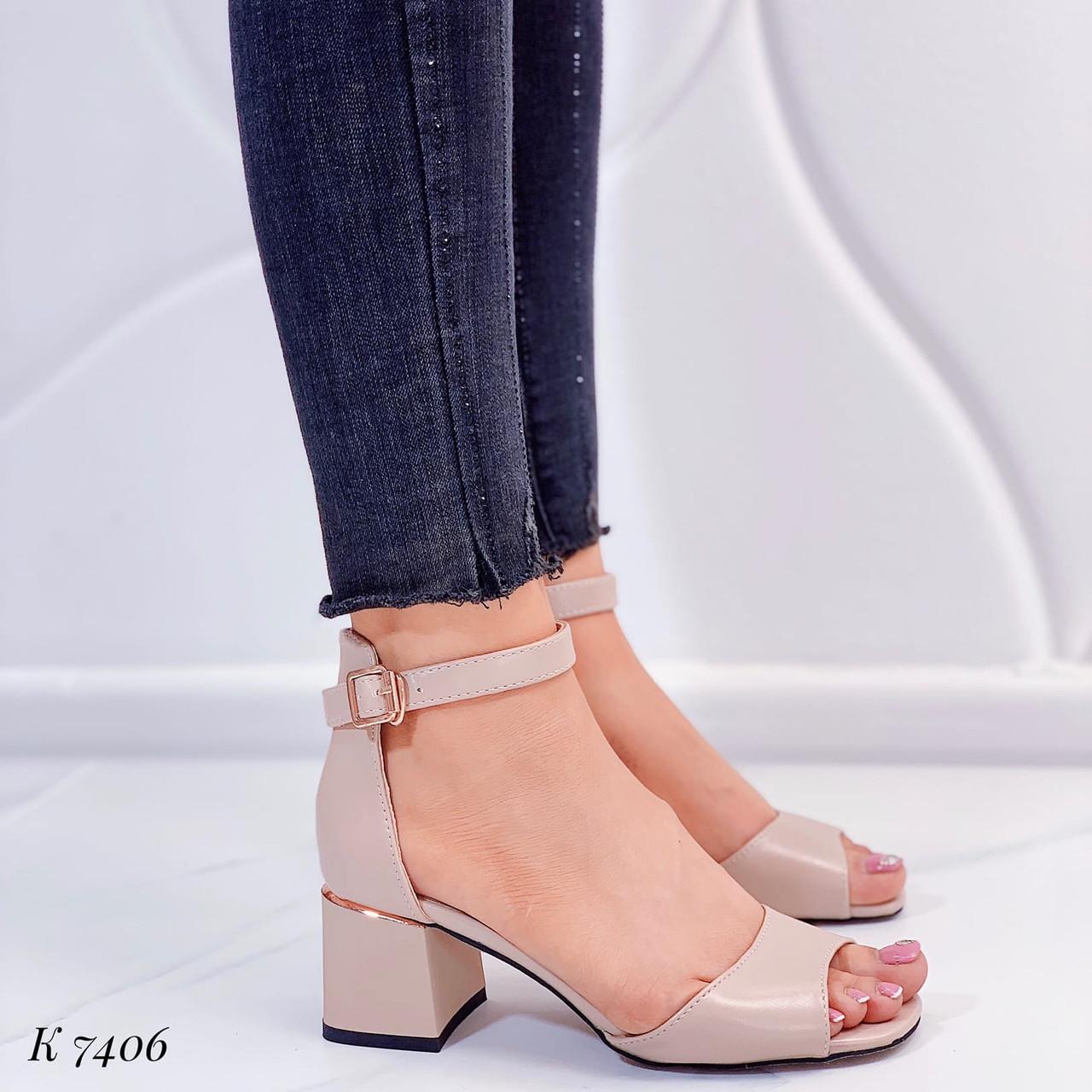 Женские босоножки бежевые - беж на каблуке 5,5 см эко кожа