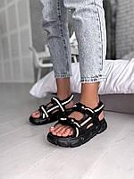 Жіночі сандалі чорні рефлектив