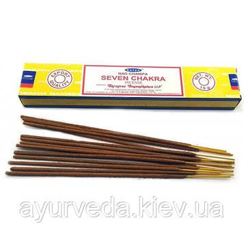 Ароматические палочки Seven Chakra (Седьмая чакра) (Satya) (15 гр) (12 шт/уп)