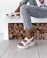 Жіночі сандалі білі рефлектив
