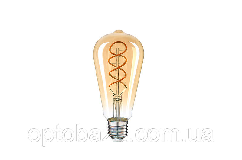 """LED Лампа Vestum филамент """"винтаж"""" golden twist ST64 6W 2500K 220V E27"""