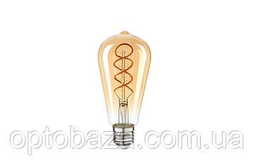 """LED Лампа Vestum филамент """"винтаж"""" golden twist ST64 6W 2500K 220V E27, фото 2"""