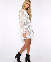 Пляжная короткая туника-платье с плотным кружевом 42-46 р, фото 3