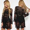 Пляжная короткая туника-платье с плотным кружевом 42-46 р, фото 4