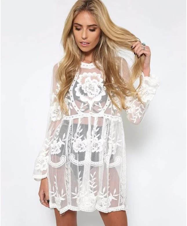 Пляжная короткая туника-платье с плотным кружевом 42-46 р