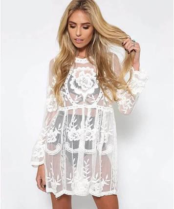 Пляжная короткая туника-платье с плотным кружевом 42-46 р, фото 2