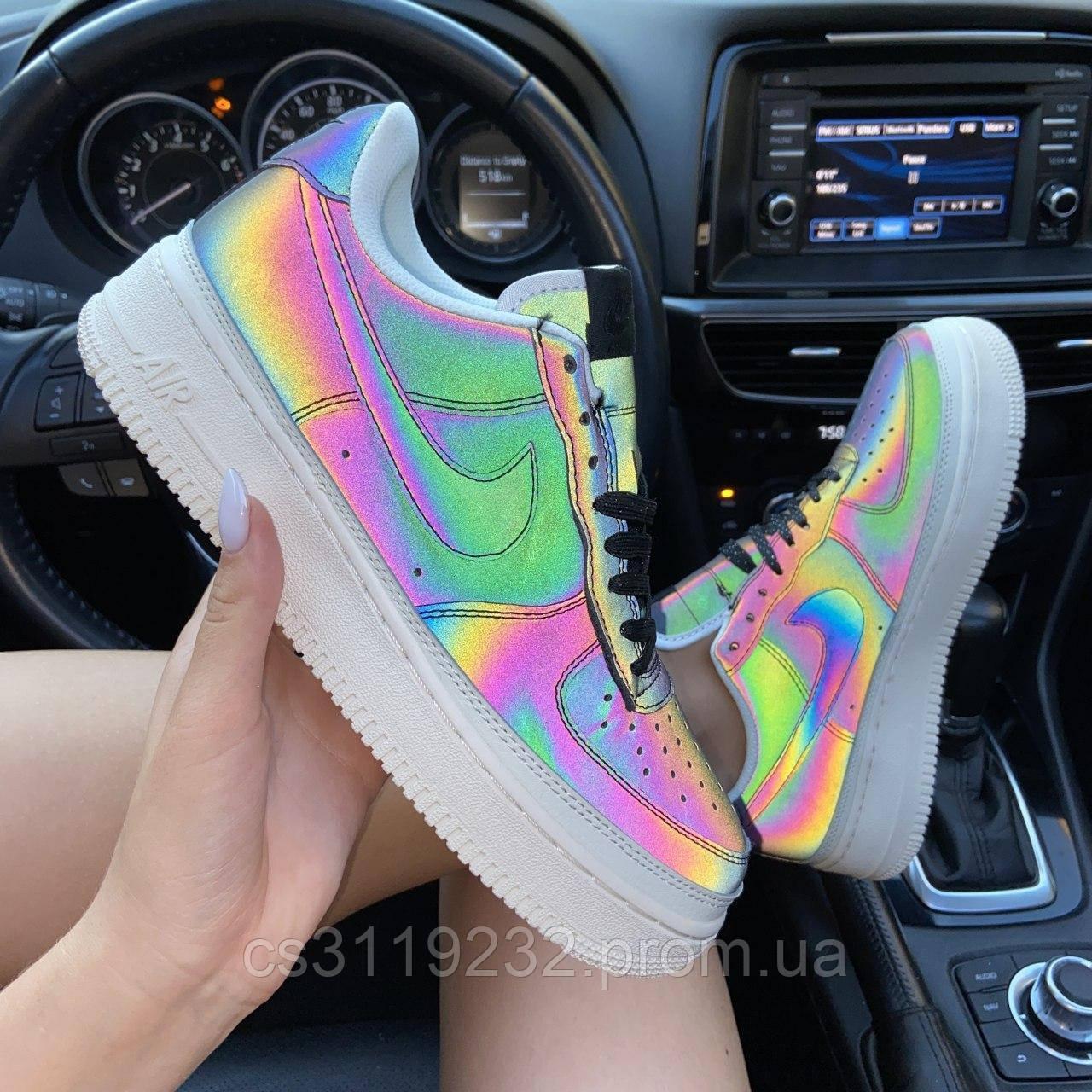 Женские кроссовки Nike Air Force 1 Low Reflective рефлектив (черные)