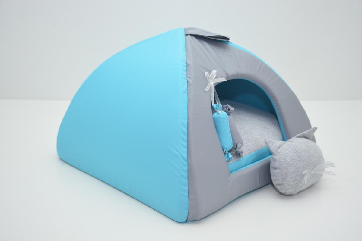 Домик юрта для котов и собак Комфорт лето бирюзовый №1 39х39х31 см