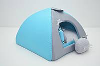 Домик юрта для котов и собак Комфорт лето бирюзовый №2 46х46х35 см
