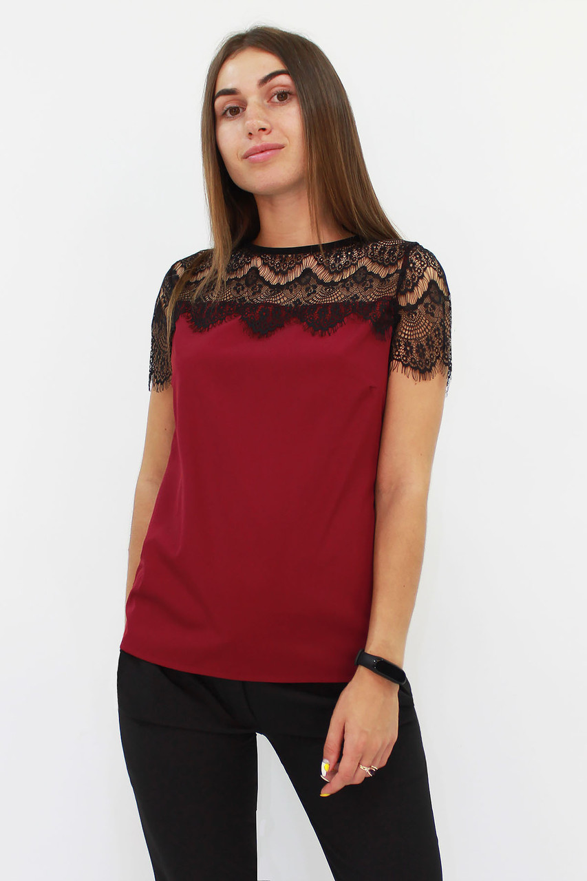 Витончена блузка з мереживом Inza, марсала