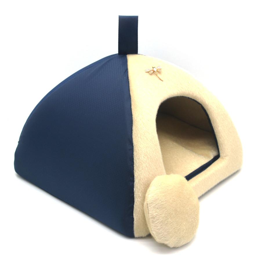 Домик юрта для котов и собак Мех синий №1 39х39х31 см