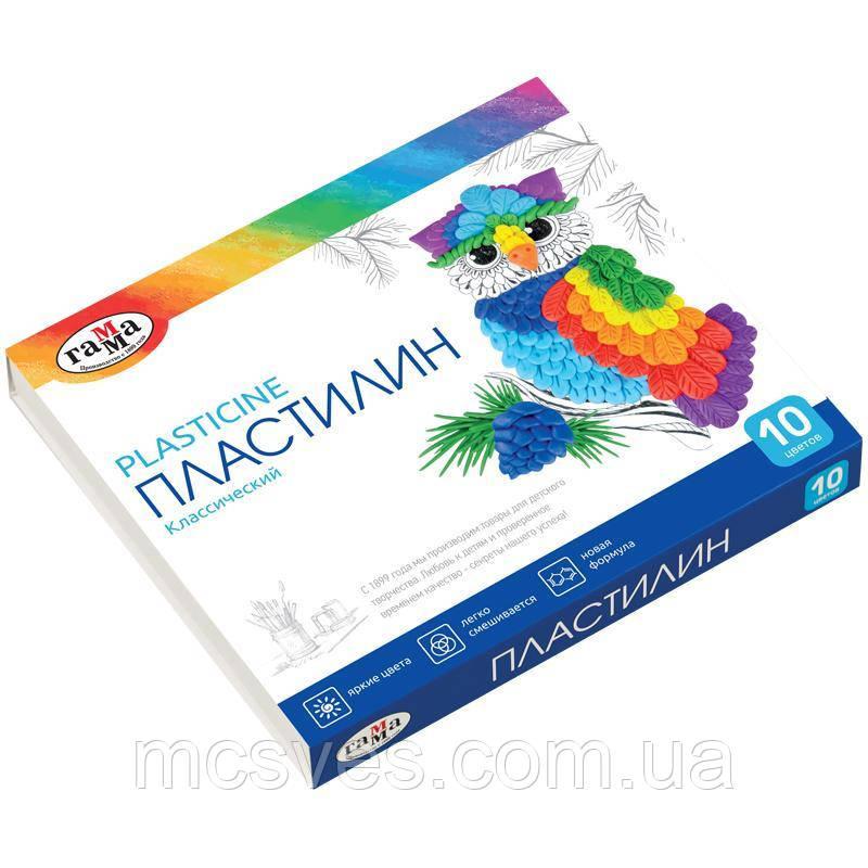 """Пластилін """"Класичний"""", 10 кольорів, вага 200 г, в картонній упаковці зі стеком."""