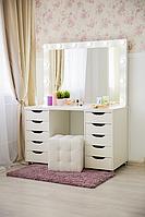 Стол  гримерный с зеркалом,тумбами и подсветкой СВ-14
