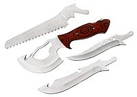 🔝 Нож туристический, охотничий Егерь 4 в 1, универсальный походный ножик с черным чехлом   🎁%🚚