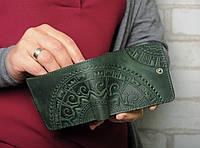 """Зелёный кожаный кошелек ручной работы """"Этно"""", фото 1"""