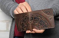 Темно-коричневый кожаный кошелек ручной работы, фото 1