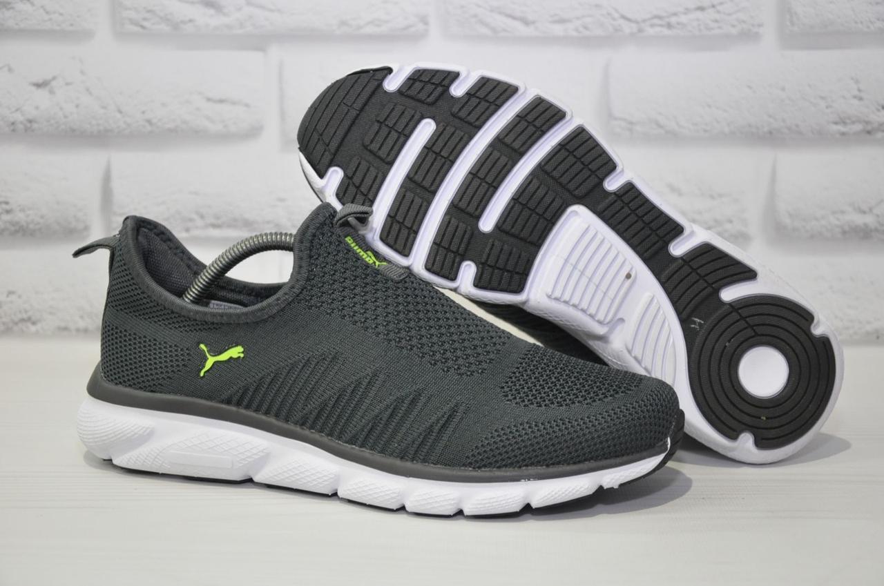 Мужские кроссовки сетка без шнурков серые на белой подошве в стиле Puma 45 размер