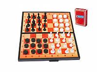 Набір 3 в 1 шашки,шахи,нарди,гральні карти арт.5240-30