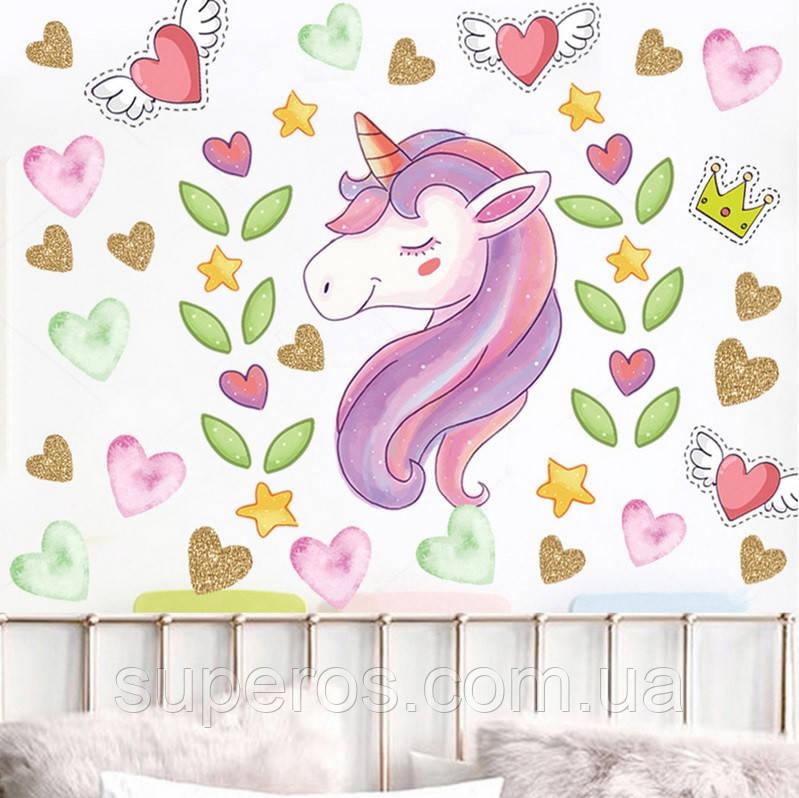 Інтер'єрна наклейка для дитячої кімнати KS8857 Єдиноріг і серця
