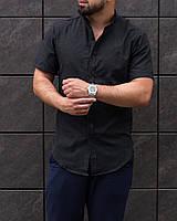 Рубашка мужская с коротким рукавом льняная черная   ЛЮКС качества