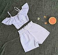 Стильний комплект (шорти+топ) на дівчинку на ріст 116-134 в смужку