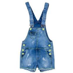Джинсовый комбинезон-шорты для девочки с яркими пуговицами
