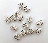 Бусина металлическая «Бочонок резной», серебро 7х9 мм
