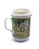 Чашка чайная заварочная с ситом Девушки под ивой