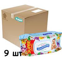 """Упаковка влажных салфеток Superfresh для детей и мам  """"Ромашка"""" с клапаном, 9 пачек."""