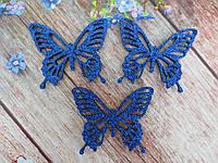 """Аплікація, патч """"Метелик ажурна"""" на фетровому основі, колір СИНІЙ, 50х55 мм, 1 шт."""