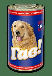«ГАВ» консервированный корм для взрослых собак с говядиной в аппетитном соусе, 1,240 кг