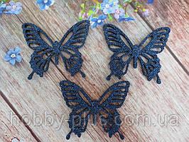 """Аплікація, патч """"Метелик ажурна"""" на фетровому основі, колір ТЕМНО-СИНІЙ (НЕВІ), 50х55 мм, 1 шт."""