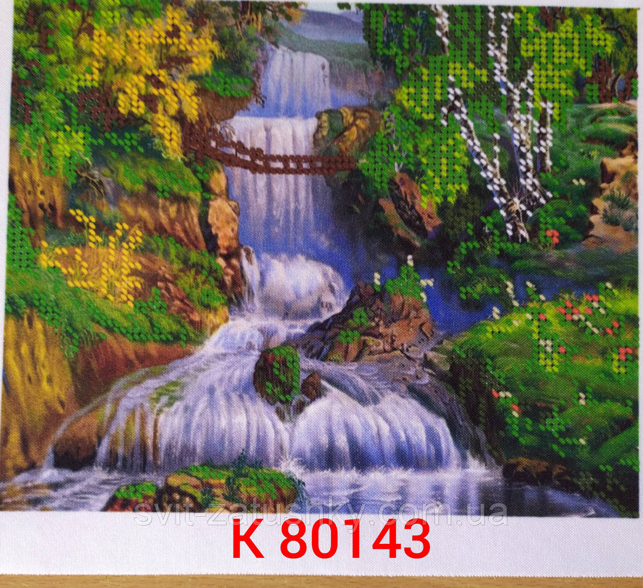 """Картина для часткової вишивки бісером"""" Казковий водоспад"""" /Картина для вышивки бисером"""