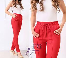 Рожеві легкі жіночі брюки на талію великі розміри, фото 2