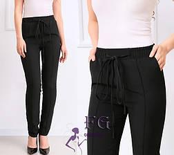 Розовые легкие женские брюки на талию большие размеры, фото 3