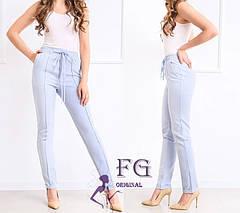 Розовые легкие женские брюки на талию большие размеры, фото 2