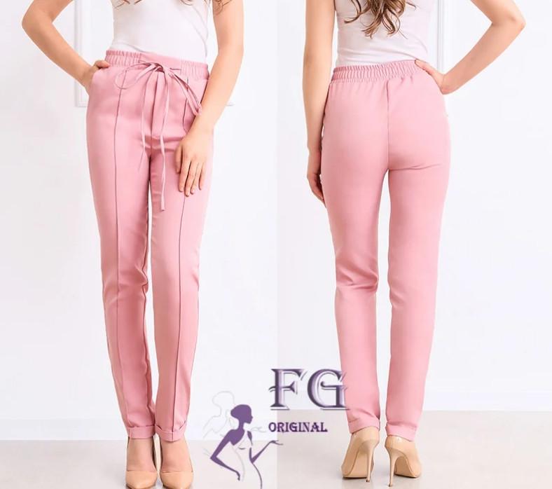 Розовые легкие женские брюки на талию большие размеры