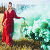 Зелений дим для фотосесії, Кольоровий дим Maxsem, зелений дім (Середня насиченість)