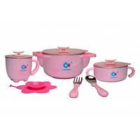 Набор детской посуды 5 в 1 Babyhood BH-404P Розовый