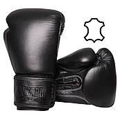 Боксерські рукавички PowerPlay 3014 Чорні [натуральна шкіра] 10 унцій