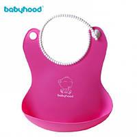Детский фартук для кормления Babyhood с кэтчером, силиконовый, BH-401P Розовый, фото 1